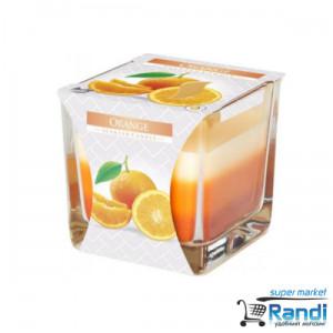 Свещ в чаша трицветна Bispol Портокал