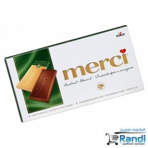 Шоколад Merci Hazelnut - Almond100гр.