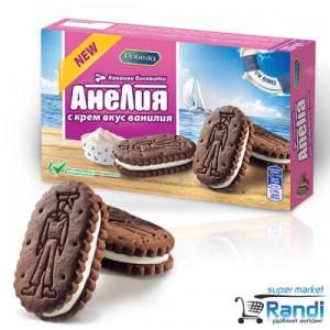 Бисквити Анелия сандвич с крем вкус ванилия 187гр.