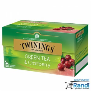 Чай Twinings Green Tea and Cranberry 25бр.*1,6гр.