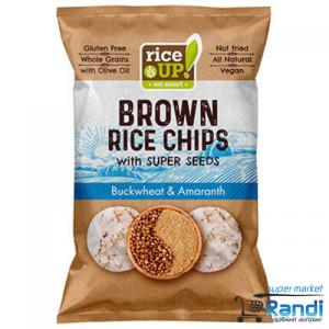 Чипс от кафяв пълнозърнест ориз Елда и Амарант Rice UP 60гр.