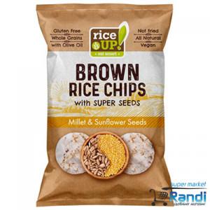 Чипс от кафяв пълнозърнест ориз с Просо и слънчогледово семе Rice UP 60гр.