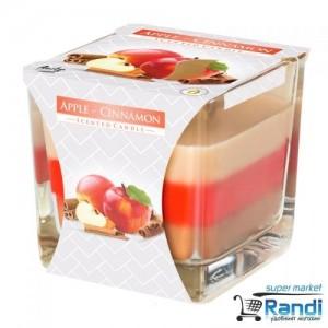 Свещ в чаша трицветна Bispol Apple - Cinnamon