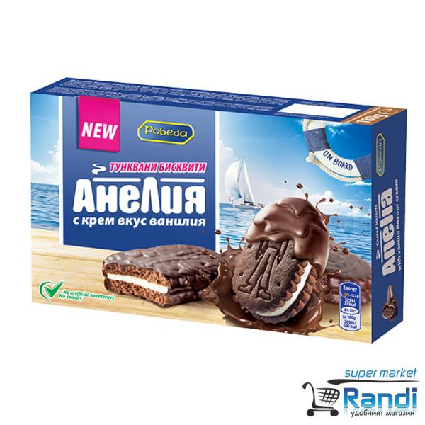 Бисквити тунквани Анелия с крем вкус ванилия 180гр.