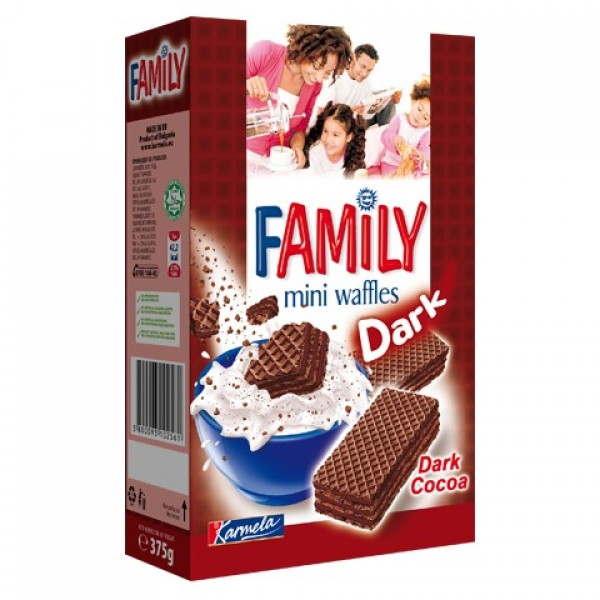 Мини вафли Family Dark cocoa 375гр.